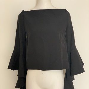 NWT Black off the shoulder top with ruffle sleeves
